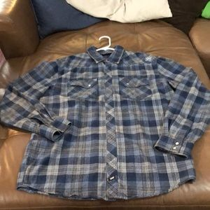 Blue flannel cowboy casual button down